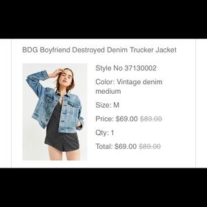 URBAN OUTFITTERS BDG DENIM JACKET